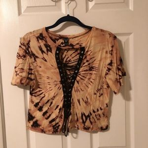 Windsor Tops - Tie dyed bleach lace up shirt